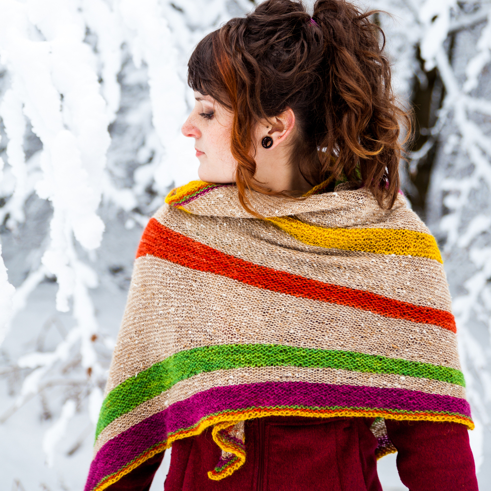 Photo shooting in Anlier forest for the Divergence Shawl from ChristalLK